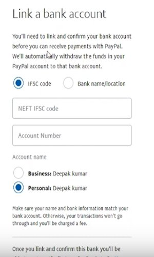 paypal acount bank link